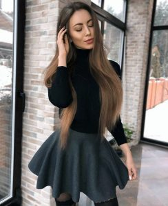 beautiful girl in a skirt